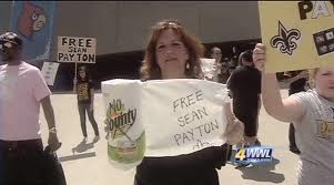 Saints fans hold protest outside of the Superdome