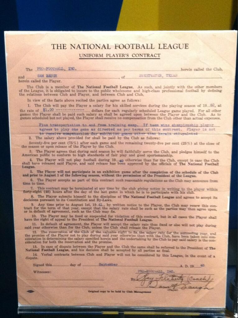 sammy baugh contract